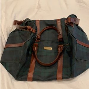 Ralph Lauren Leather Plaid Duffle Travel Bag